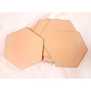 MDF Coasters - Hexagon - 4.20 in x 4.80 in - 6 Pcs