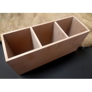 "MDF - Cutlery Holder - 3 Partition - 10""x3""x4.4"" - 1/Pkg"