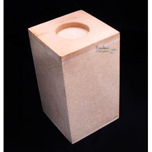 MDF - Candle Stand - 3.5x3.5x6 in - 1Pc