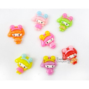 Resin Embellishment - Flatback Cabochon - Kawaii Girls - Mix Pack - 2.1cm - 5Pcs
