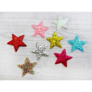 Resin Embellishment - Flatback Glitter Star - 4cm - Mix Pack - 5/Pkg