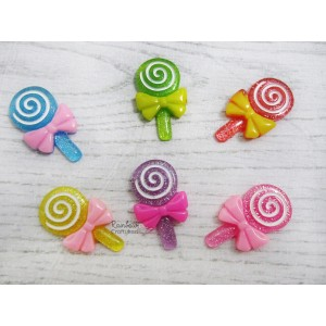 Resin Embellishment - Flatback Cabochon - Lollipop - Mix Pack - 2.0cmx3.1cm - 3Pcs