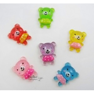 Resin Embellishment - Flatback Cabochon - Bears - Mix Pack - 2.1cmx1.7cm - 5Pcs