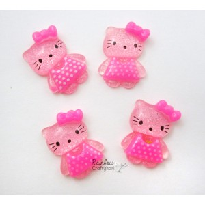 Resin Embellishment - Flatback Cabochon -  Pink Kawaii Cat - Mix Pack - 1Pc