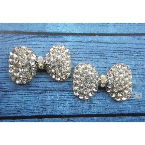Metal Accessories - Flatback - Bow Tie - Rhinestone - 3cm - 2Pcs