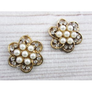 Metal Accessories - Flatback - Flower Gold - Pearl - 2cm - 2Pcs