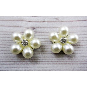 Metal Accessories - Flatback - Flower Button - Pearl - 2.3cm - 2Pcs