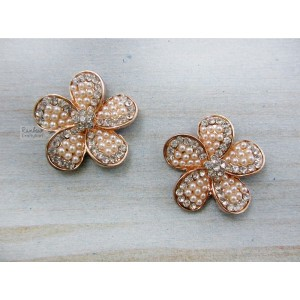 Metal Accessories - Flatback - Pink Flower - Rhinestone Pearl - 2.7cm - 2Pcs