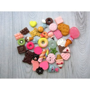 Resin Embellishment - Mixed Flatback Cabochons - Cookies/Food - 36 Pcs