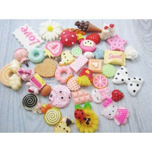 Resin Embellishment - Mixed Flatback Cabochons - Sweets/Daily Life - 42 Pcs