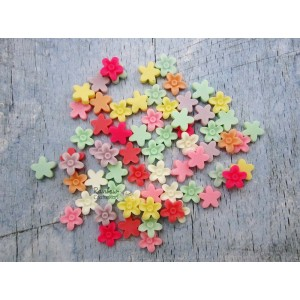 Resin Embellishment - Flatback Cabochon - Mixed Flowers - 1.5cmx1.5cm - 10 Pcs