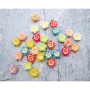 Resin Embellishment - Flatback Cabochon - Mixed Rose Flower - Mix Pack - 1.4cm - 10Pcs