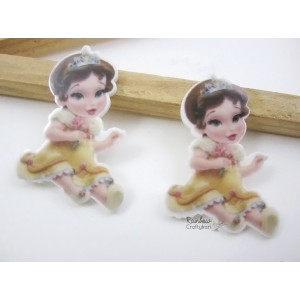 Resin Embellishment - Flatback Acrylic - Baby Cartoon Princess Ochre Dress - 2Pcs