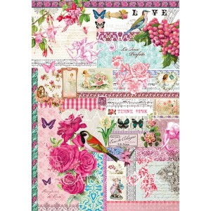 Calambour - Decoupage Paper - Postcards with Fuschia Roses