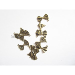 Metal Charm - Bronze Small Bows - 4/Pkg