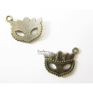 Metal Charm - Bronze Colombina Mask - 2cm - 2/Pkg