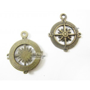 Metal Charm - Weather Compass - 2/Pkg