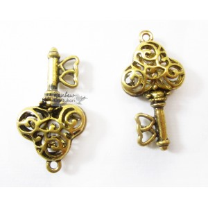 Metal Charm - Golden Carved Key  - 1/Pkg