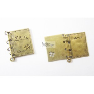 Metal Charm - Bronze Diary - 2.5cm - 1Pc