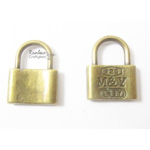 Metal Charm - Bronze Lock - 2/Pkg