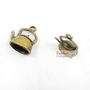 Metal Charm - Bronze Kettle - 2/Pkg
