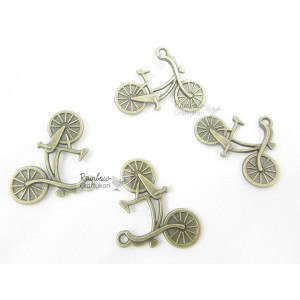 Metal Charm - Bronze Small Bicycle - 2.65cm - 4/Pkg