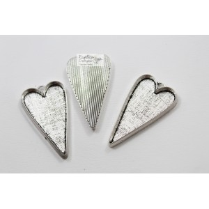 Metal Charm - Silver Bezel - Heart - 5.1cm - 1Pc