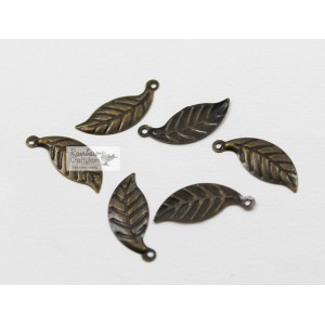 Metal Charm - Bronze Leaves - 2.5cm - 5/Pkg