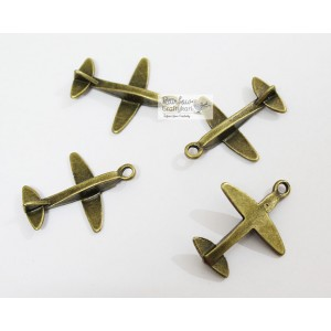 Metal Charm - Bronze Airplane - 3.5cm - 2/Pkg