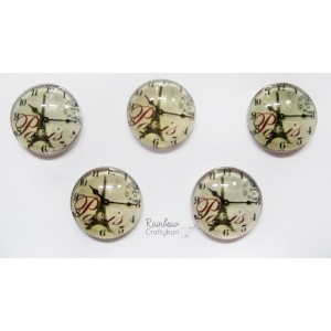 Flatback Paris Clock Glass Dome - 3pcs - 1.5cm