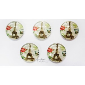 Flatback Eiffel Tower Glass Dome - 2pcs - 1.5cm
