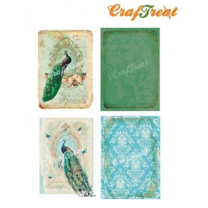 CrafTreat Decoupage Paper - Peacock - 4 Sheets