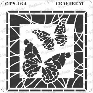 """CrafTreat - Stained Glass Butterflies Stencil - 6""""x6"""""""