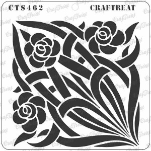 """CrafTreat - Stained Glass Flowers and Vines Stencil - 6""""x6"""""""