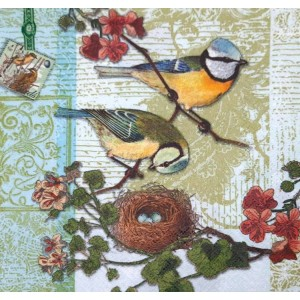 "Deco Napkin  13""x13"" - Birds Nest - 1Pc"