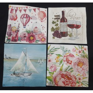 "Deco Napkin  13""x13"" - Miscellaneous Napkins  - 4 Pcs"