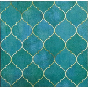 "Deco Napkin  13""x13"" - Teal Moroccan Pattern - 1Pc"