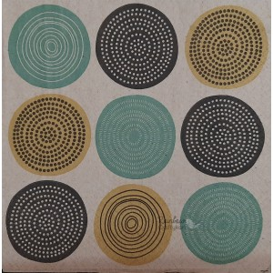 "Deco Napkin  13""x13"" - Circular Dots Pattern - 1Pc"
