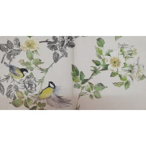 "Deco Napkin  13""x13"" - Yellow Birds on the Branch - 1Pc"