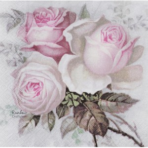 "Deco Napkin  13""x13"" - Three Vintage Pink Roses - 1Pc"