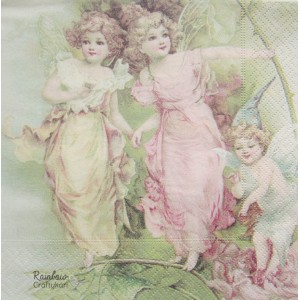 "Deco Napkin  13""x13"" - Two Angels - 1Pc"