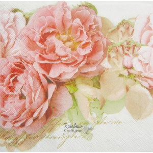 "Deco Napkin  13""x13"" - Peach Flowers - 1Pc"