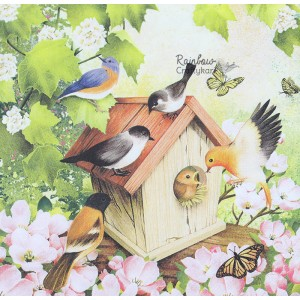 "Deco Napkin  13""x13"" - Bird House - 1Pc"