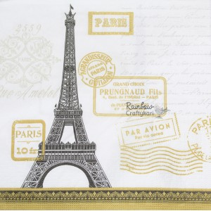 "Deco Napkin  13""x13"" - White Scripty Paris Tower - 1Pc"