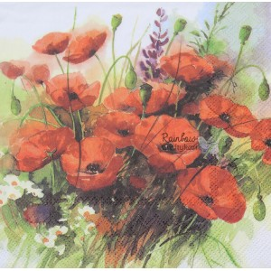 "Deco Napkin  13""x13"" - Red Poppies - 1Pc"