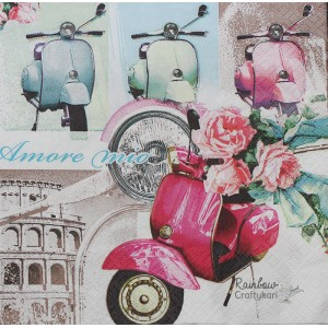 "Deco Napkin  13""x13"" - Retro Scooter - 1Pc"