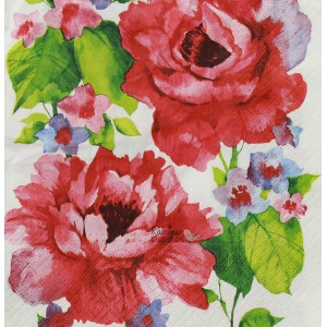 "Deco Napkin  13""x13"" - Big Red Roses - 1Pc"