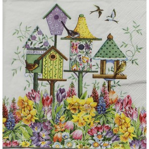 "Deco Napkin  13""x13"" - Bird House  Daffodil Garden - 1Pc"