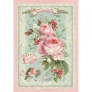 Stamperia - A4 Rice Paper - Pink Christmas Rose