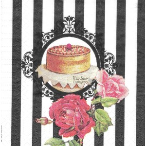 "Deco Napkin  10""x10"" - Cake and Roses - 1Pc"